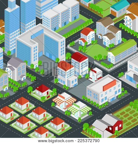 Graphic city building, real estate, house and cityscape architecture and nature environment  in 3D isometric design in cartoon or video game concept, create by vector