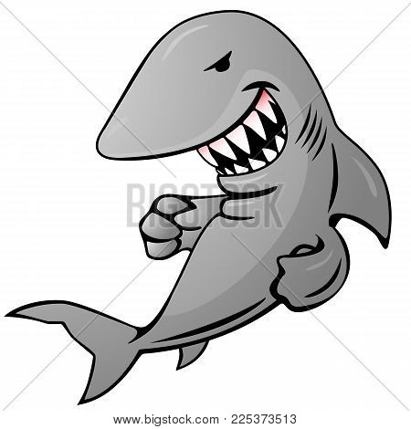 Cartoon shark jumping out of water, big sharp teeth, funny but serious grin, ready to strike, full color vector graphic illustration isolated on a white background poster