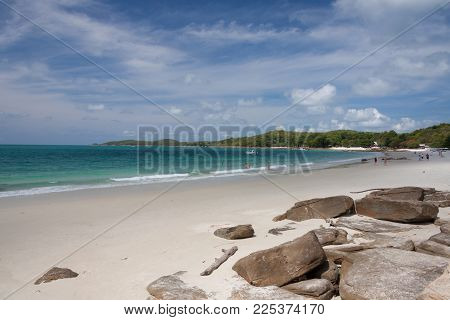 White Sand Beach  And Blu Sky At Krabi , Thailand