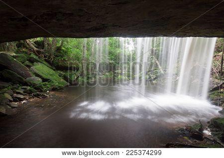 View From Behind A  Waterfall At Phukradung , Thailand