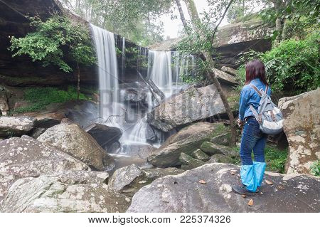 Waterfall In Rain Forest At Phukradung National Park Of Thailand