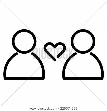 Love and relationship icon. Heart symbol between two people. Outline modern design element. Simple black flat vector sign with rounded corners.
