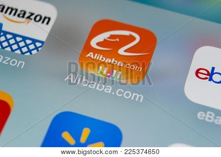 Sankt-Petersburg, Russia, February 2, 2018: Alibaba application icon on Apple iPhone 8 smartphone screen close-up. Alibaba app icon. Alibaba.com is popular e-commerce application.