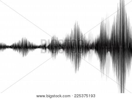 Earthquake Wave On White Paper Background,audio Wave Diagram Concept,design For Education And Scienc