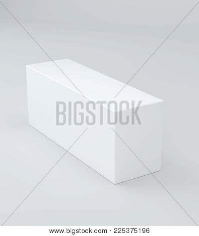 Blank White Cube Product Packaging Paper Cardboard Box. 3d Illustration.
