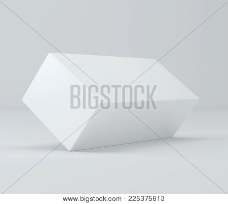 Package Product Cardboard Package Box. 3d Illustration On Studio Light White Background. Mock Up Tem