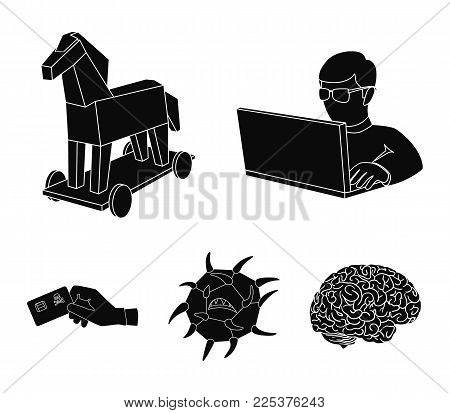 Hacker, Hacking, System, Internet .hackers And Hacking Set Collection Icons In Black Style Vector Sy