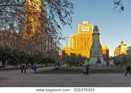 Madrid, Spain - January 21, 2018:  Sunset View Of Monument To Cervantes And Don Quixote And Sancho P