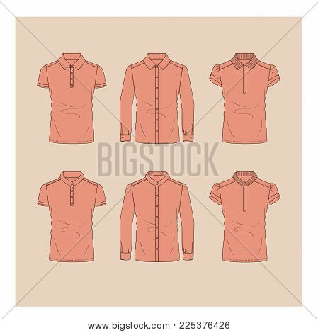 Detailed Illustration Set Of Shirts And Polo In Pink For Women.
