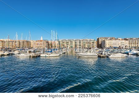 Marseille, France - December 4, 2016: Picturesque Colorful Yacht Port In Old Center Of Marseilles, F