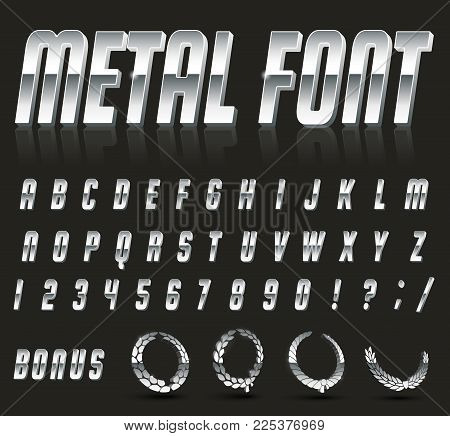 Color, bright font in the old style. Vector, vintage alphabet. Style 80 s, 90 s retro posters. Color gradient. Metal font.