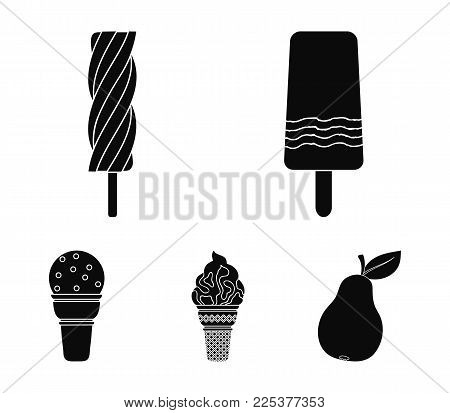 Ice Cream On A Stick, In A Waffle Cone And Other Species. Ice Cream Set Collection Icons In Black St