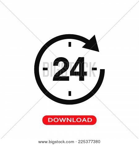 24 hour round the clock icon vector in modern flat style for web, graphic and mobile design. 24 hour round the clock icon vector isolated on white background. 24 hour round the clock icon vector illustration, editable stroke and EPS10. 24 hour round the c