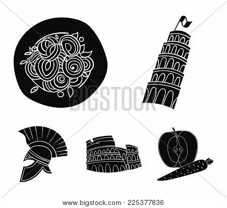 Pisa Tower, Pasta, Coliseum, Legionnaire Helmet.italy Country Set Collection Icons In Black Style Ve