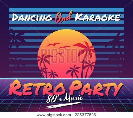 Vector image of old, retro, vintage style. Party banner, invitation, flyer, advertising. Vector illustration of retro disco and dance. 80 s, 90 s style