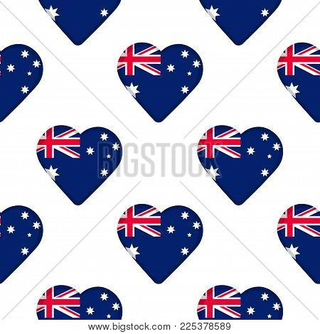 Seamless pattern from the hearts with flag of Australia. Vector illustration