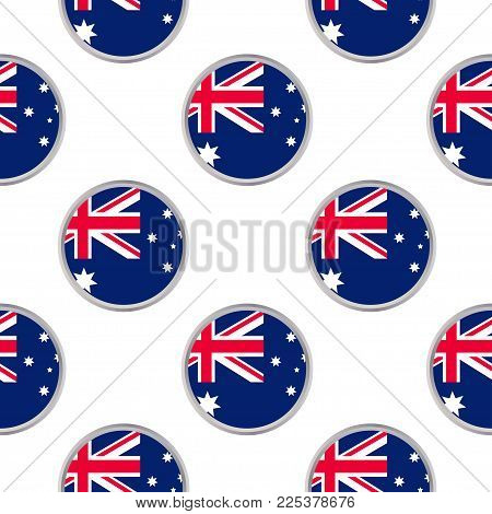 Seamless pattern from the circles with flag of Australia. Vector illustration