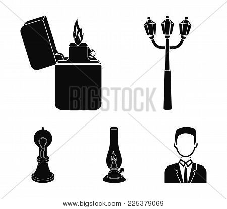 Street Lamp, Lighter, Kerosene Lamp, Lamp Of Edison.light Source Set Collection Icons In Black Style