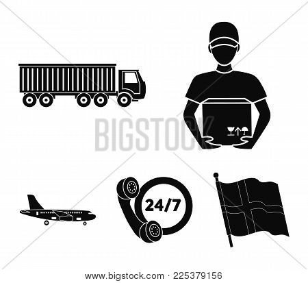 Round-the-clock Communication, Courier With Box, Truck, Cargo Plane. Logistic, Set Collection Icons