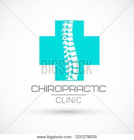Spine logo clinic medicine chiropractic backbone health illustration poster