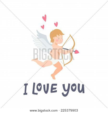 Valentines Day greeting card with funny cupid with bow and arroew. I love you inscription and Angel or Amour on white background. vector illustration