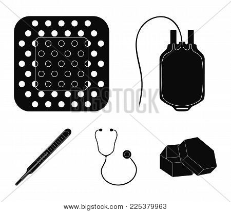 Package With Donor Blood And Other Equipment.medicine Set Collection Icons In Black Style Vector Sym