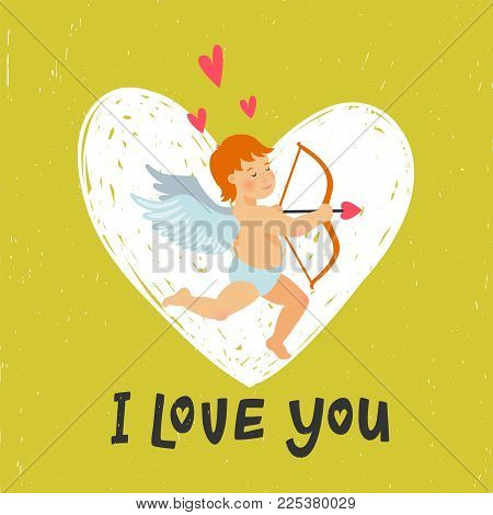 Valentines Day greeting card with funny cupid with bow and arrow. I love you inscription and Angel or Amour on bright yellow-green background. vector illustration