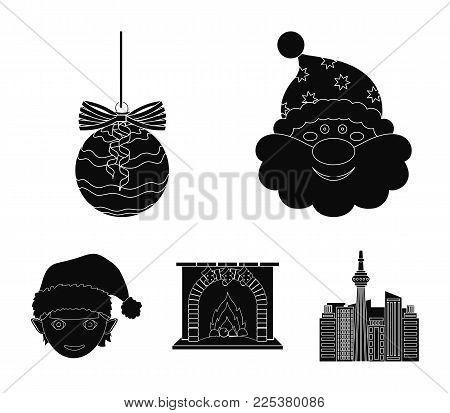 Santa Claus, Dwarf, Fireplace And Decoration Black Icons In Set Collection For Design. Christmas Vec