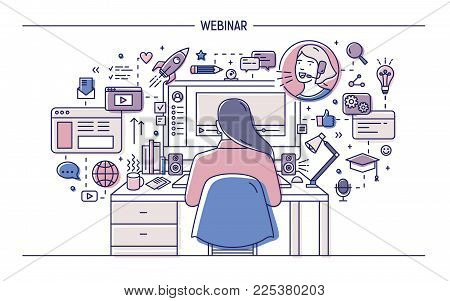Woman sitting at desk with computer surrounded by web symbols and pictograms and watching or listening to webinar, online lecture or internet lesson. Colored vector illustration in line art style