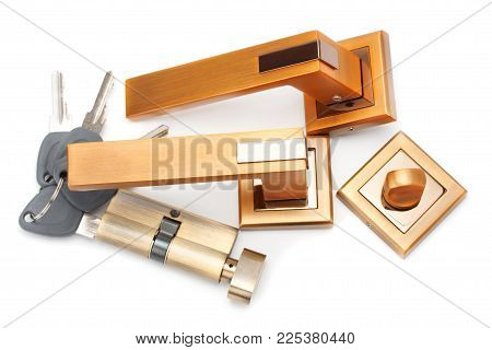 Door handles, locks and keys isolated on white background.