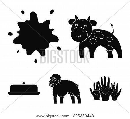 Cow, Sheep, A Drop Of Milk, Butter. Milk Set Collection Icons In Black Style Vector Symbol Stock Ill