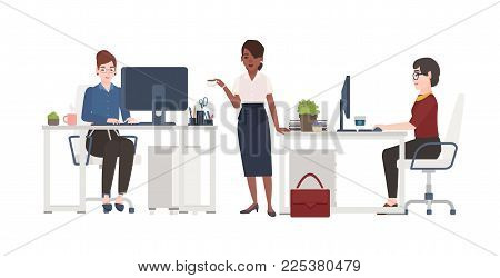 Women working at office. Female clerks dressed in smart clothes sitting in chairs at desks with computers or standing and drinking coffee. Cartoon characters. Vector illustration in flat style