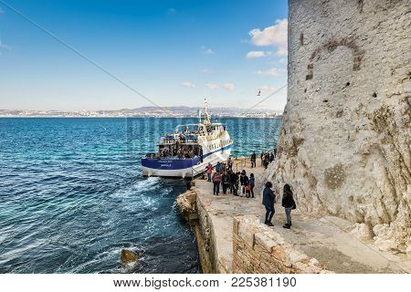 Tourists In The Chateau D'if In Marseille, France
