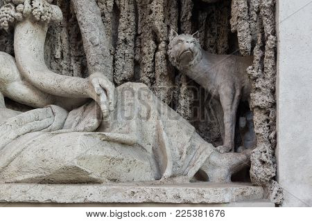 ROME, ITALY - JUNE 24, 2017: Architectural detail from Crossing of Quattro Fontane in city of Rome, Italy