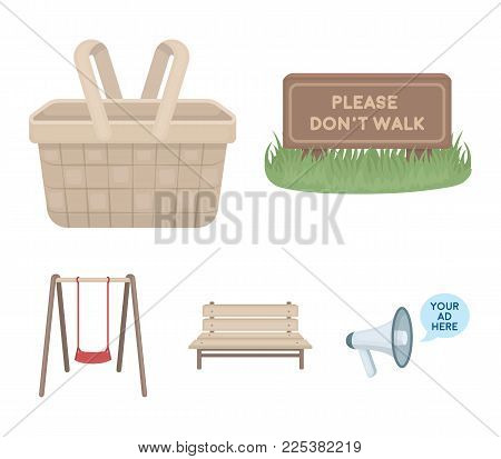 Lawn With A Sign, A Basket With Food, A Bench, A Swing. Park Set Collection Icons In Cartoon Style V