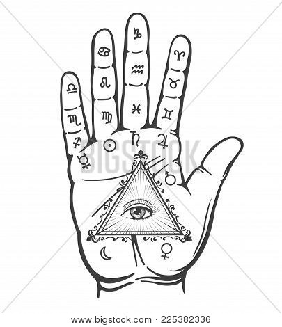 Palmistry hand. Vintage hand drawn psychic hand with magic eye and alchemy signs isolated on white background, vector illustration