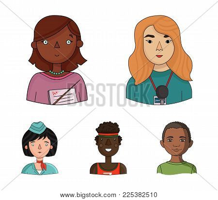 A Journalist With A Microphone With A Badge, A Teacher With A Pointer In Beads, A Stewardess In A Pi