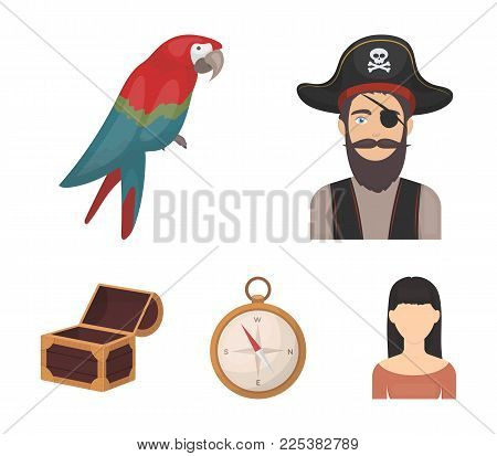 Pirate, Bandit, Hat, Bandage .pirates Set Collection Icons In Cartoon Style Vector Symbol Stock Illu