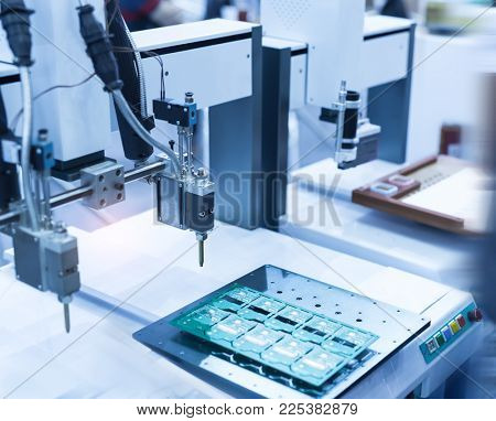 soldering iron tips of automated manufacturing soldering and assembly pcb board