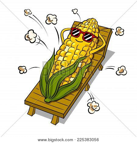 Corn tans on beach and turns into popcorn pop art retro vector illustration. Cartoon food character. Isolated image on white background. Comic book style imitation.