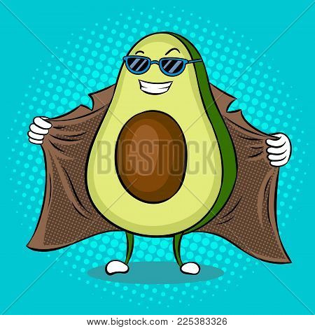 Avocado exhibitionist in raincoat pop art retro vector illustration. Cartoon food character. Color background. Comic book style imitation.