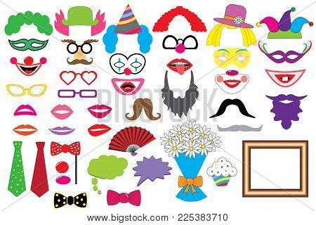 Party set. Clowns. Glasses, hats, lips, wigs, mustaches, tie and etc., icons. Vector. Photo booth props.