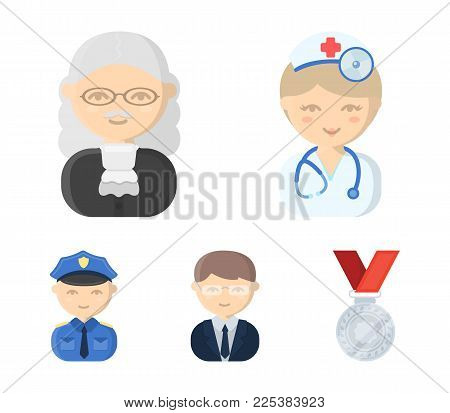 Doctor, Judge, Business, Police.profession Set Collection Icons In Cartoon Style Vector Symbol Stock