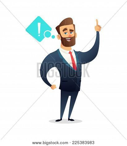 Successful beard businessman character saying some important information. Business concept illustration.