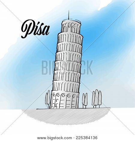 Pisa Tower Landmark Sketch, hand drawn outline illustration for print design and travel marketing
