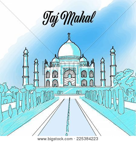 Taj Mahal Landmark Sketch, hand drawn outline illustration for print design and travel marketing