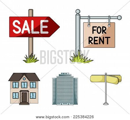 Signs Of Sale And Rent, A Skyscraper, A Two-story Cottage.realtor Set Collection Icons In Cartoon St