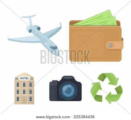 Vacation, Travel, Wallet, Money .rest And Travel Set Collection Icons In Cartoon Style Vector Symbol