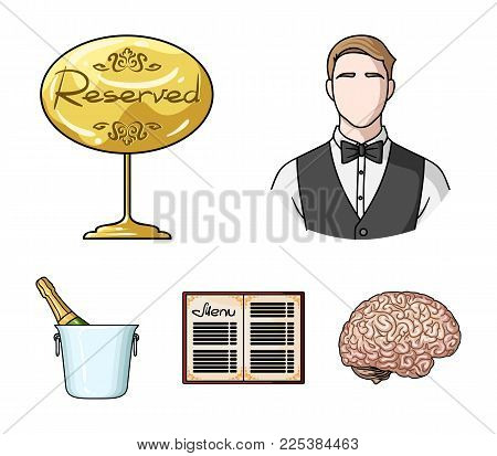 Waiter, Reserve Sign, Menu, Champagne In An Ice Bucket.restaurant Set Collection Icons In Cartoon St