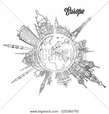 Famous European Landmarks on Globe. Hand drawn outline illustration for print design and travel marketing